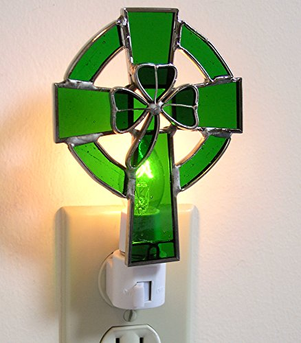 Irish Night Light Celtic Cross and Shamrock Stained Glass