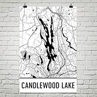 Candlewood Lake Connecticut, Candlewood Lake CT, Carte de Candlewood Lake, Carte de CT, Carte de lac, Art de Candlewood Lake, Affiche du Connecticut 24'x36 Affiche du Connecticut 24x36 Modern Map Art
