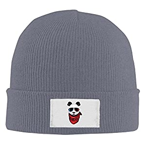 Unisex Cool Panda With Sunglass Fashion Beanie Hat Asphalt