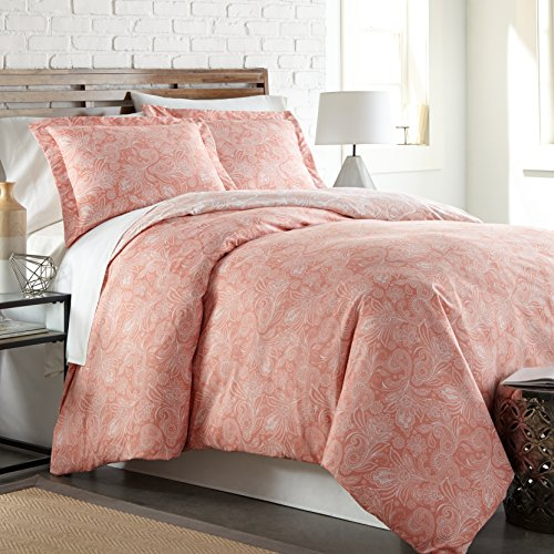 Southshore Fine Linens - Perfect Paisley Collection - Boho Style Comforter Sets, 3 Piece Set, Full/Queen, Coral Haze (Coral Collection)