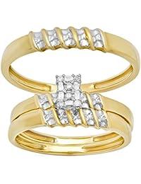 0.10 Carat (ctw) 10k Yellow Gold Round Diamond Ladies & Mens His Hers Bridal Ring Trio Set Band 1/10 CT