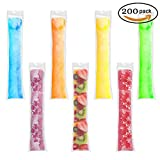 Image of 200 Pieces Ice Popsicle Molds Bags,Zip-Top Disposable DIY Ice Pop Mold Bags for Yogurt, Ice Candy, Otter Pops or Freeze Pops