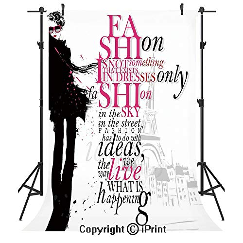 Eiffel Tower Photography Backdrops,Woman Figure in Paris in Autumn Inspirational Words Vogue Theme Art Print,Birthday Party Seamless Photo Studio Booth Background Banner 5x7ft,Black Pink