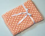 Lacy Peach Crocheted Baby Blanket by Custombearhug 36 by 43 Inches