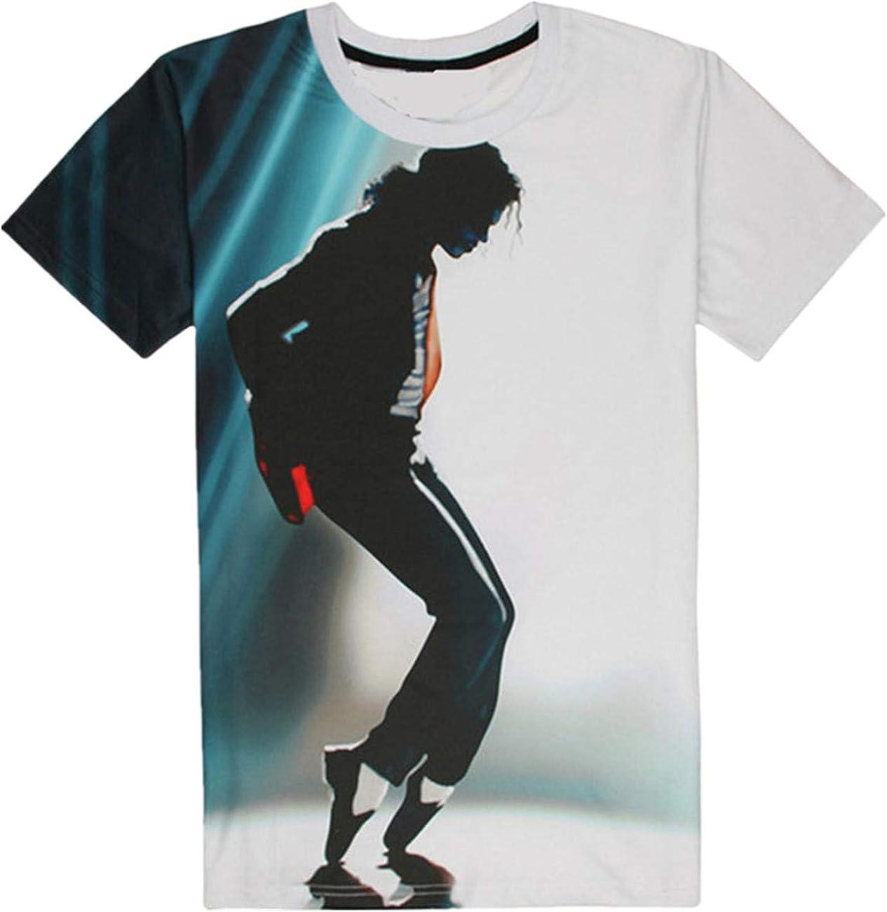 Shuanghao MJ Michael Jackson Space Dance Top Punk Cotton 100% Colorful Tshirt Camisetas Top Casual Camiseta (L): Amazon.es: Ropa y accesorios