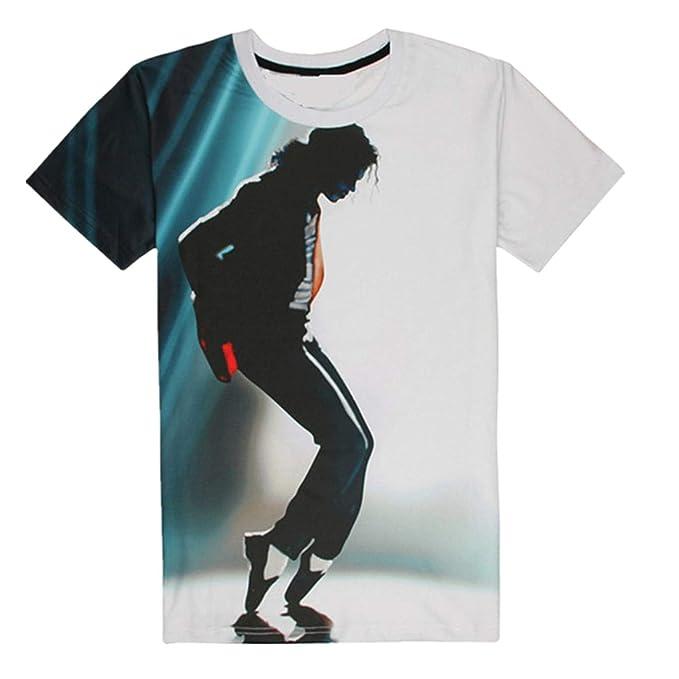 Shuanghao MJ Michael Jackson Space Dance Top Punk Cotton Colorful Tshirt Camisetas Top Casual Camiseta: Amazon.es: Ropa y accesorios