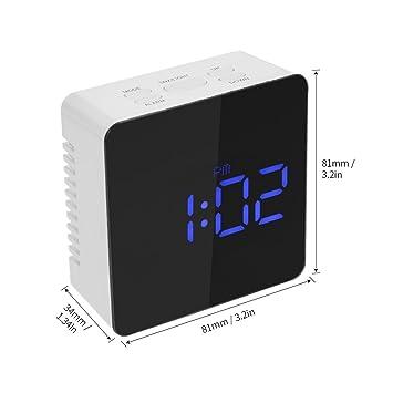 Hykis - Espejo del Reloj LED Digital 12H / 24H Alarma y Funci¨®n