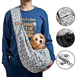 iBrowith Small Dog Cat Carrier Sling Hands Free Backpack for 5 - 12 lbs Pet Puppy Travel Outdoor Riding Adjustable Shoulder Strap with Mesh Net and Pocket ( Grey , Blue Stripes )