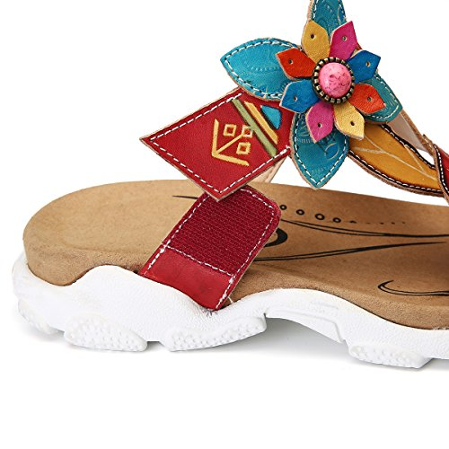 gracosy Platform Sandals for Women Leather Flat Slip On Slipper Shoes Handmade Summer Flip Flops Casual Beach Slipper Mules Non Slip Open Toe Outdoor Comfortable Walking Shoes with Flower Red Qh3YRYY3