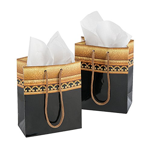 Small Timeless Glamour Gift Bags (12 Pack) Paper. 4 1/2