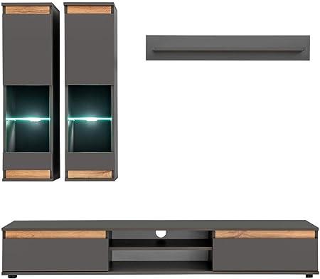 muebles bonitos Meuble Mural TV modèle Borneo Couleur Gris ...