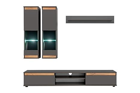 Mueble de salón Modelo Borneo Color Gris Antracita y Roble ...