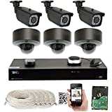 8 Channel H.265 4K NVR 5MP 1920P POE IP Camera System, (3) Bullet & (3) Dome Varifocal Zoom HD Security Camera - H.265 (Double Recording Data and Enhance Picture Quality Compared to H.264)