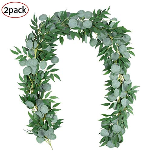 TOPHOUSE 2Pcs 6.2 Feet Artificial Silver Dollar Eucalyptus Leaves Garland with Willow Vines Twigs Leaves String for Valentines Greenery Garland Table Runner Garland Indoor Outdoor.