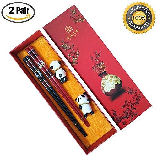 [2 Pairs] Chinese Chopsticks with Cute Panda Design, MHKBD Wooden Chopsticks with Panda Patterns Reusable Chopsticks with Case and 2 Ceramic Panda Rests Birthday Gift Set Wedding Present , (Design Chopsticks)