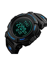 Men's Military Sports Digital Watch With Survival Compass 50M Waterproof Countdown 3 Alarm Stopwatch (Blue)