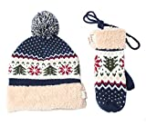 Women's & Men's Warm Cashmere Jacquard Knitted Pom Pom Beanie Hat, Neck Handing Gloves, Collapsible Earmuff (Free Size, Navy Blue (Hat & Mittens))