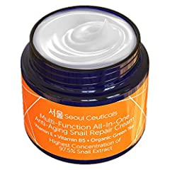This luxury skin care snail cream extract contains the highest concentration of snail mucin (97.5%) compared to competing Korean snail creams. Also, unlike the other brands, this moisturizing and healing cream contains shea butter + organic a...