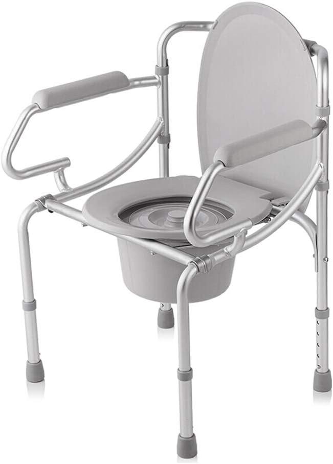 パッド入りのアームレストと背もたれ、安全な体重100キロの高齢妊婦アルミシャワーチェアライト折りたたみ椅子のためのベッドサイド便座 (Color : A)