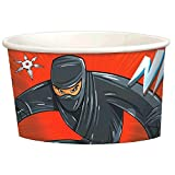 Amscan 431587 Action Packed Ninja Treat and Birthday Party Favour Cups, Paper, Black and Red, 9.5 oz, 8 ct, Multicolor