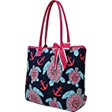Sea-Turtle-Anchor-Print-Quilted-Large-Stripe-Ribbon-Tote-Bag-Hotpink