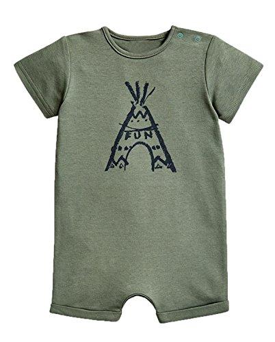 stylesilove Baby Boy Cute Graphic Print Short-Sleeve Cotton Romper Onesie (95/18-24 Months, Green Volcano Fun) -