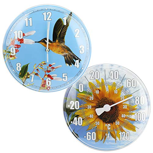 (HydroTools Sunflower and Hummingbird Swimming Pool Thermometer and Wall Clock, 12-Inches)