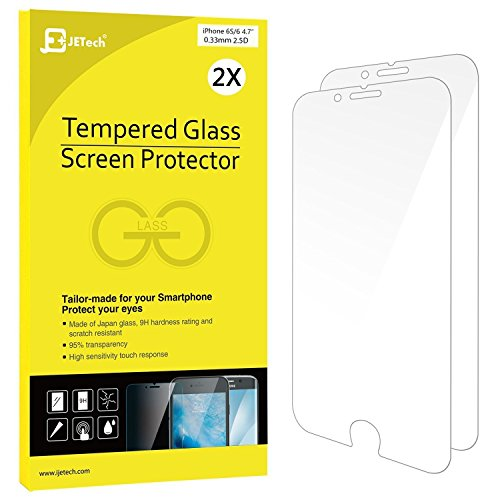 iPhone 6 6s Screen Protector, JETech 2-Pack Premium Tempered Glass Screen Protector Film for Apple iPhone 6 and iPhone 6s 4.7