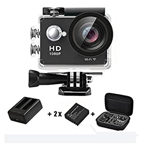 Action Camera 1080p 4K WiFi HD Daping Underwater Camera 12MP Waterproof 30M Sport Action Cam 170° Wide-Angle Len 2.0'' LCD with 2 Batteries + Charger + Carrying Case + Accessories Kit, Black
