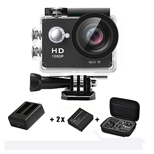 Charger Black Case Lcd (Action Camera 1080p 4K WiFi HD Daping Underwater Camera 12MP Waterproof 30M Sport Action Cam 170° Wide-Angle Len 2.0'' LCD with 2 Batteries + Charger + Carrying Case + Accessories Kit, Black)