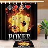 NYMB Casino Decor Burnning Poker Cards 69X70in Mildew Resistant Polyester Fabric Shower Curtain Suit With 15.7x23.6in Flannel Non-Slip Floor Doormat Bath Rugs (Multi17)