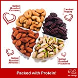 Food Gift Basket For Her & Him, Gourmet Nuts Gift Box 4-Sectional Variety, Edible Arrangement Healthy Snack Present for Woman, Men, Wife, Husband, Family Party - Prime Delivery Tomorrow Under 20