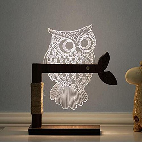 DXTFGY ZT Owl LED Lamp Creative Three-Dimensional Bedside Lamp Acrylic Bedroom 3D Night Light