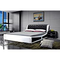 GREATIME Platform Bed, Queen Two Tone, Black/White