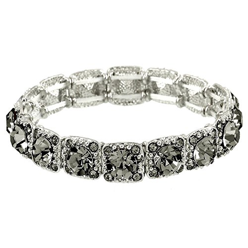 Falari Crystal Stretch Bracelet Wedding Bracelet (Black Diamond) B1534-BD ()