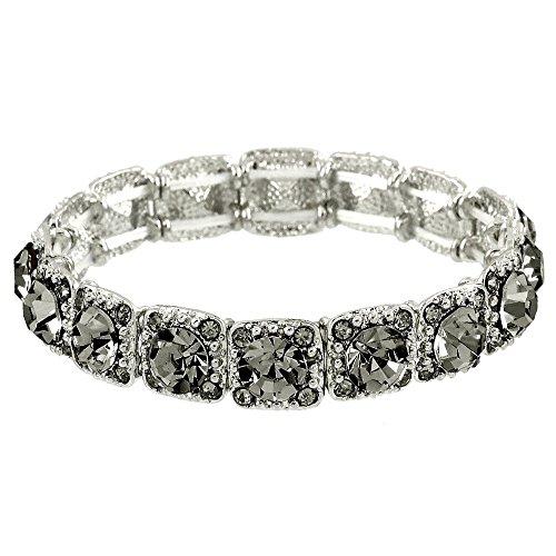 Black Bracelets Gold Diamond - Falari Crystal Stretch Bracelet Wedding Bracelet (Black Diamond) B1534-BD