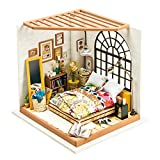 ROBOTIME Wooden Bedroom - Dolls House Furniture and Accessories - Building Puzzle Woodcraft Construction Kit - DIY Miniature Adorable House - Creative Gift for Girls