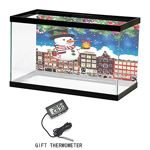 Print Aquarium Background Poster, Christmas, Snowman in the City Streets Urban Style Noel Downtown Wishes Ritual Funny Illustration, Multi, 24