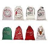 27''X19'' Large Santa Sack for Christmas Kids Christmas Bag Santa Bag Burlap Xmas Gift Bags (All in 1, 8 Pack)