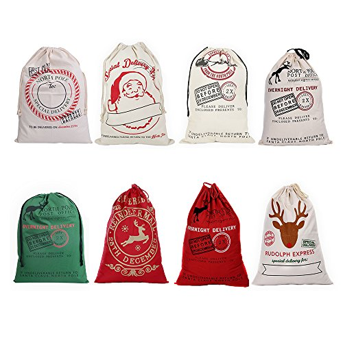 Kakukasell 27X19 Large Santa Sack for Christmas Kids Christmas Bag Santa Bag Burlap Xmas Gift Bags (All in 1, 8 Pack)