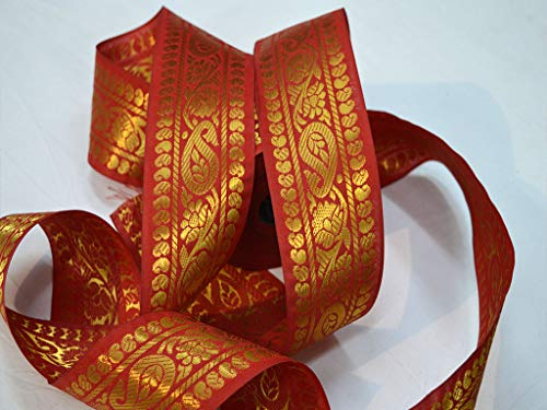 Decorative Beautiful Brocade Jacquard Ethnic Wears Christmas Supplies Fancy Clothing Accessories Gold Metallic Woven Laces Wholesale Rust Machine Stitched Trim by 9 Yard Embellishment Sewing Ribbons