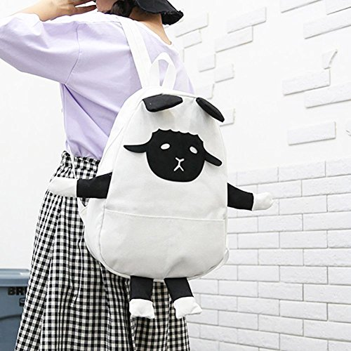 widewing Casual Girls White Shoulder Cute Backpacks Schoolbags Women Zipper Canvas Sheep r8rvEq