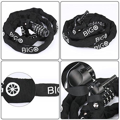 BIGO Bicycle Chain Lock Resettable Combination Bike lock Open with Password,120cm/47.24inch by BIGO (Image #2)