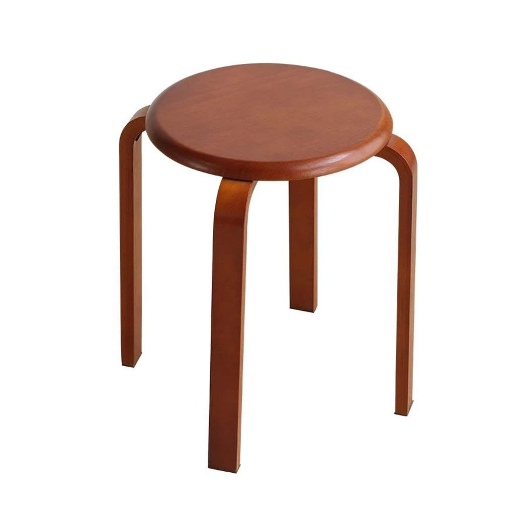 LGQ-JJU Stool, Solid Wood Round Household About Adult Dining Chair Restaurant Small Chair Optional (Size :330 330 445mm)