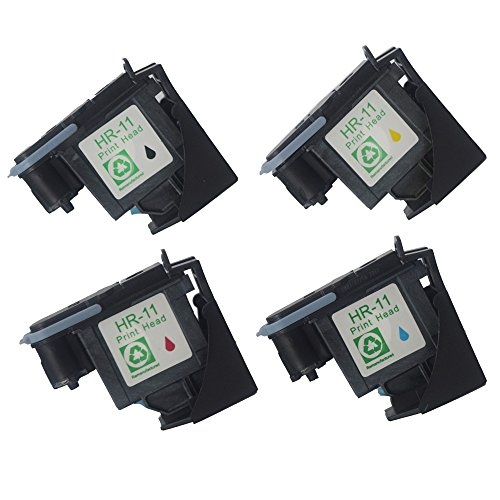 ival 4 Pack (Black Cyan Magenta Yellow) Replacement for HP 11 Printhead Fit for HP Designjet 70 90 100 110 500 510 500ps 800ps 9110 K850 ()