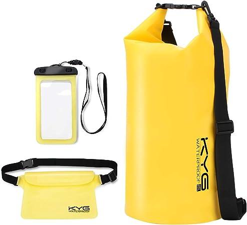 Oferta amazon: KYG Bolsa Estanca 20L Impermeable Seca Set de Bolsa Waterproof con Funda Táctil de Móvil y Bolsa Cintura para Playa y Deportes al Aire Rafting Kayak
