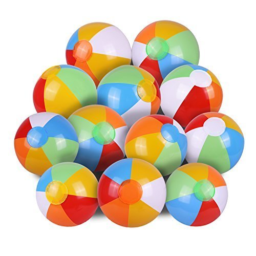 (Inflatable Beach Ball,SYZ Pool Party Balls Rainbow Clorlor Pool Balls for Kids Water Fun Play in Summer 12 Inches (12 PACK))