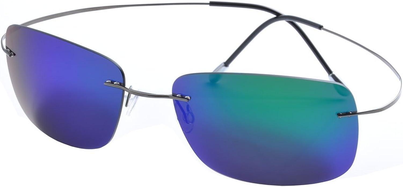 De Ding rimless titanium polarized Sunglasses