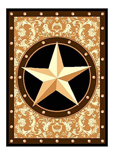 Furnish my Place Texas Western Star Rustic Cowboy Decor Area Rug, Gold/Brown/Black