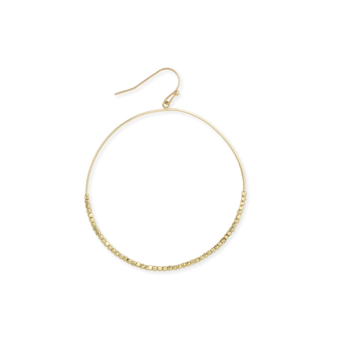 "Zen Styles Women's High Polished Plated Dewdrops Sparkling Beads Circle Dangle Hoop Earrings with Hook Clasps, 2"" x ½"", Hypoallergenic (Gold, gold-plated-base)"